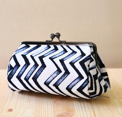 Makeup Pouch or Purse (Large) Jigu Zagu design - Mimoto Japanese Homewares & Design