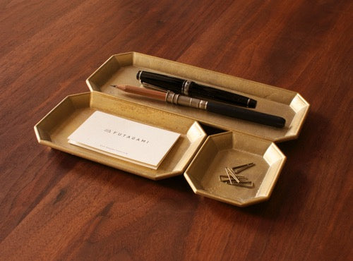 Futagami Brass IHADA Stationery Tray Large - Mimoto Japanese Homewares & Design