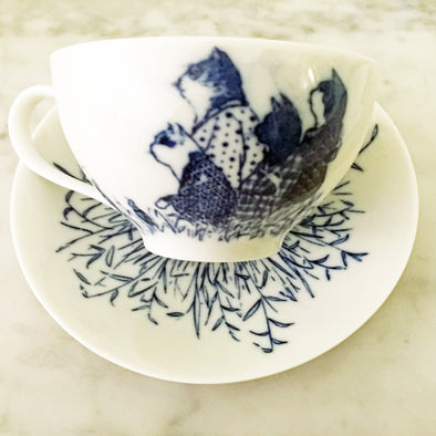Atsuko Yukawa cup & saucer (bird and cat, blue) - Mimoto Japanese Homewares & Design