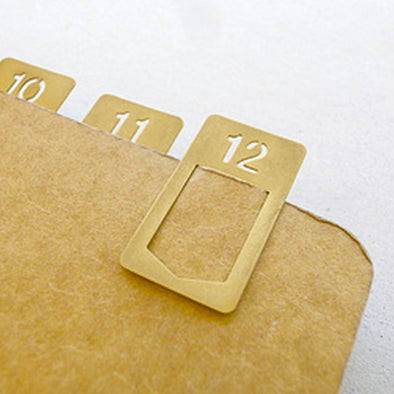 Traveler's Notebook Accessories Brass Number Clips 1-12
