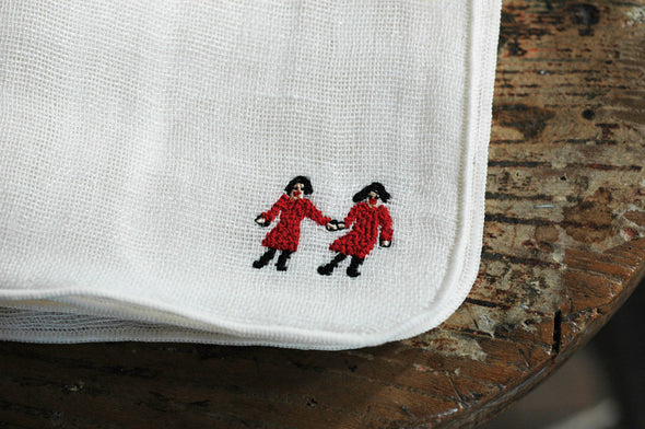 Linen quadruple gauze handkerchief - friends