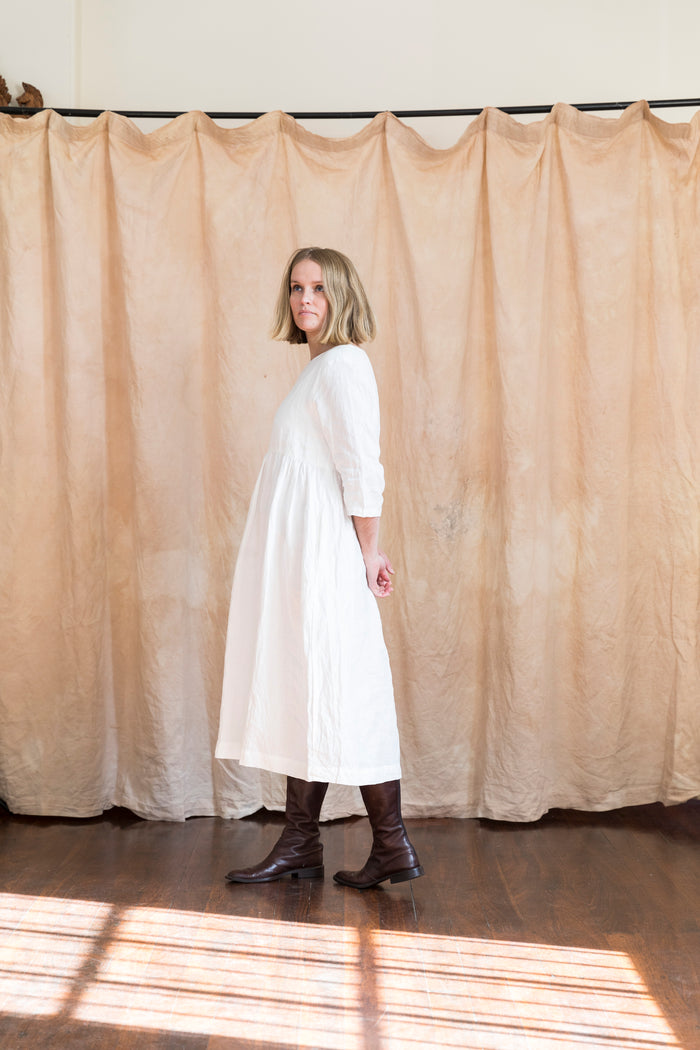 Celeste Gathered White Linen Dress