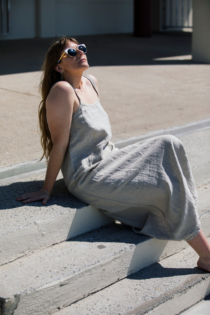 French Linen Long Slip Dress
