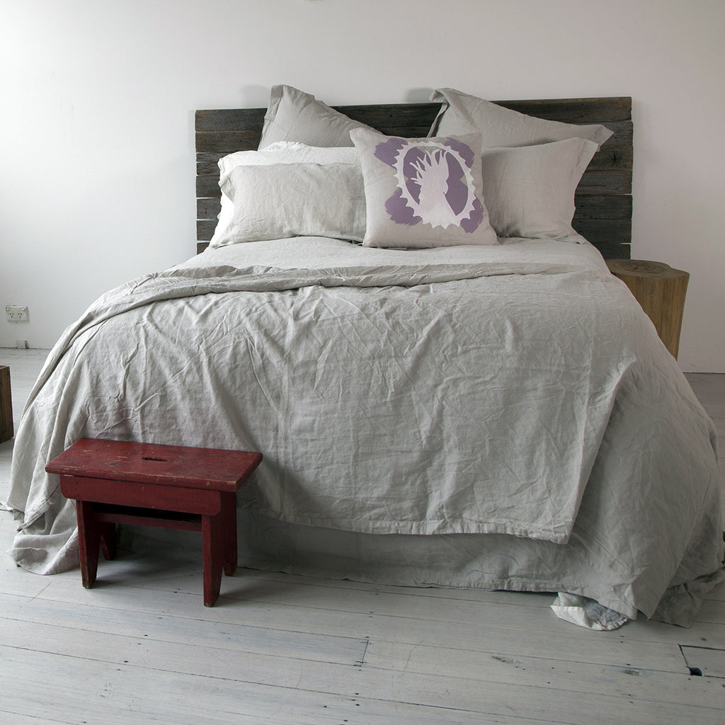 Clearance French Linen Bed Throw Willow Grey Miss Molly Eco Lux