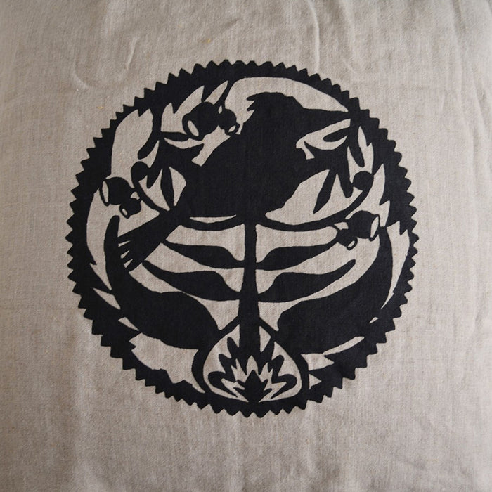 French Linen Kookaburra Cushion Cover