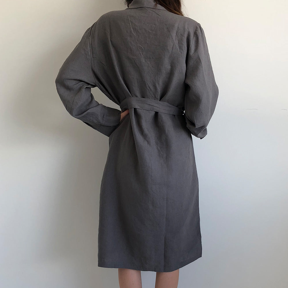 Classic Luxury French Linen Bathrobe