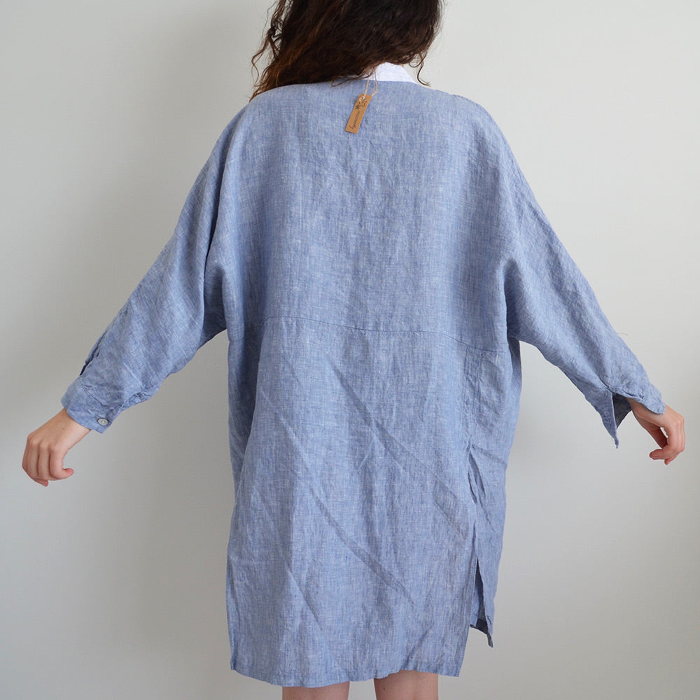 Photo of Blue Dolman Sleeved French Linen Shirt