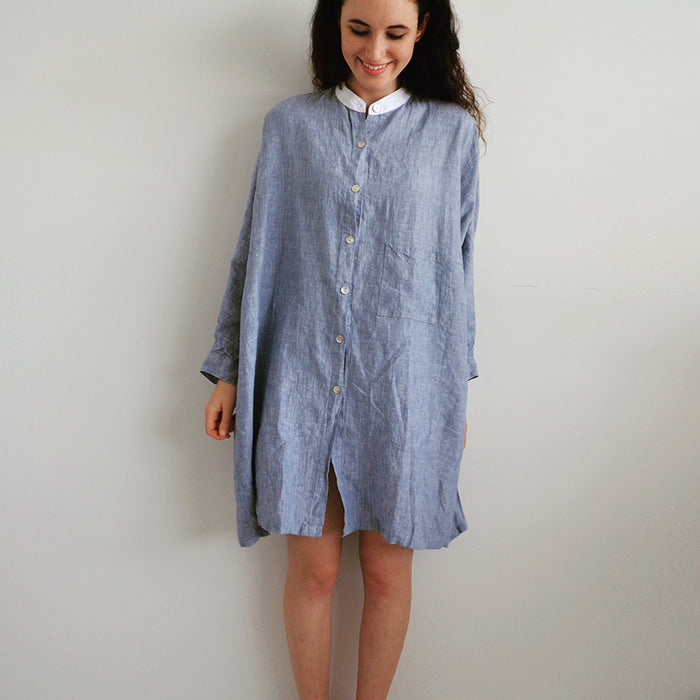 Photo of Chambray Blue Dolman Sleeved French Linen Shirt
