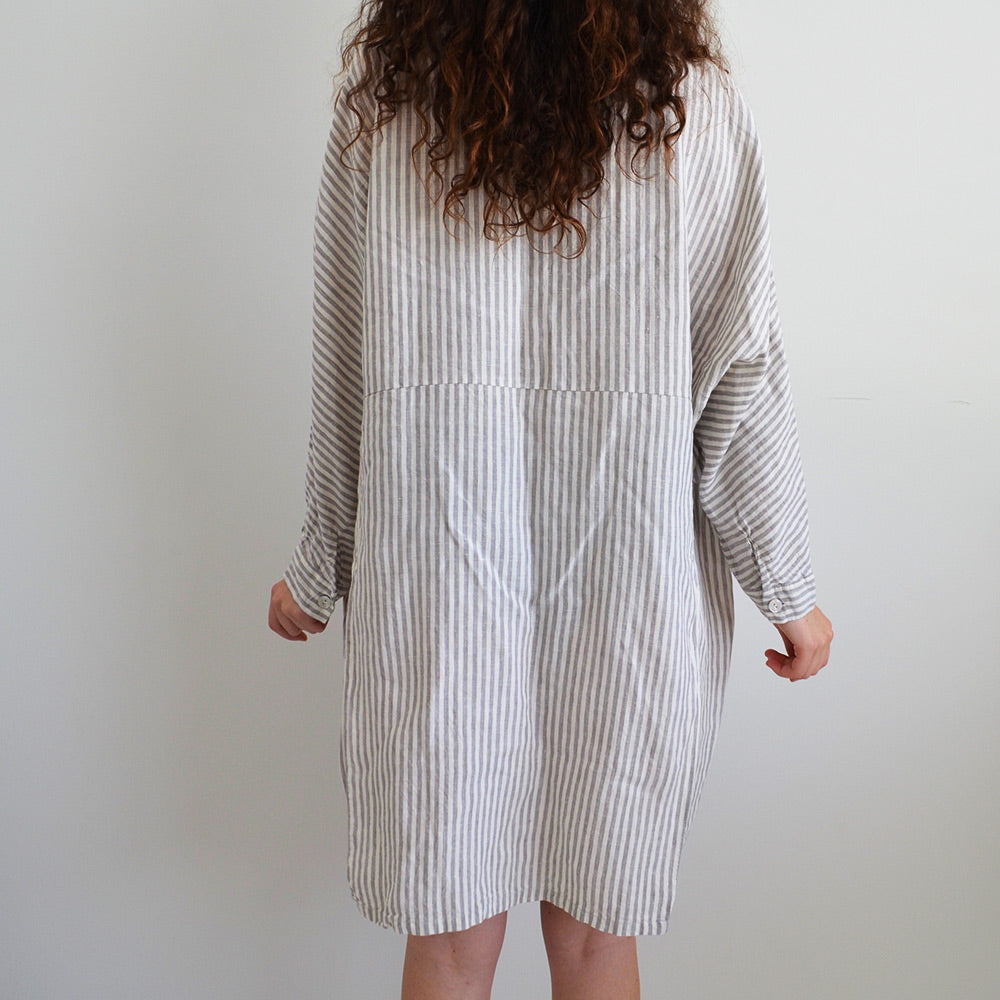 Photo of Striped Dolman Sleeved French Linen Shirt