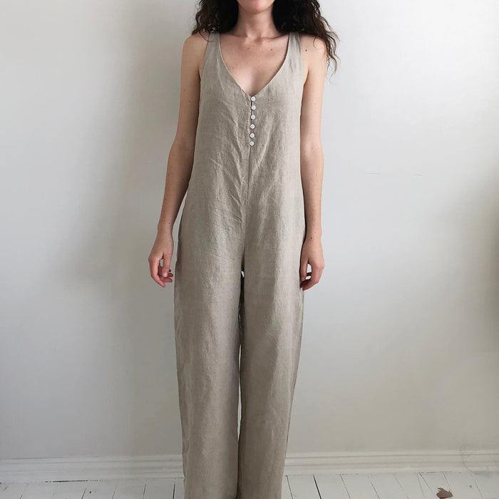 French Linen Long Jumpsuit