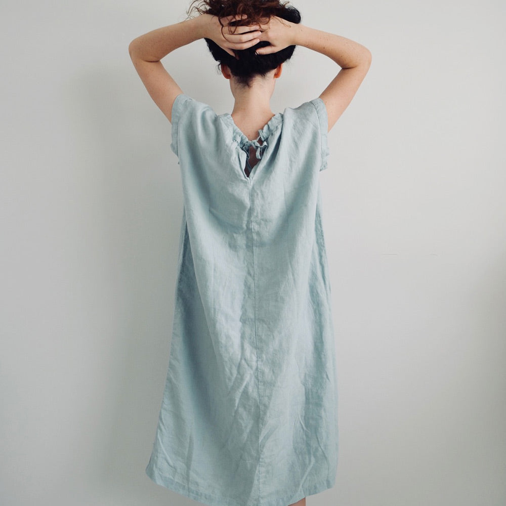 French Linen Tie Smock Dress