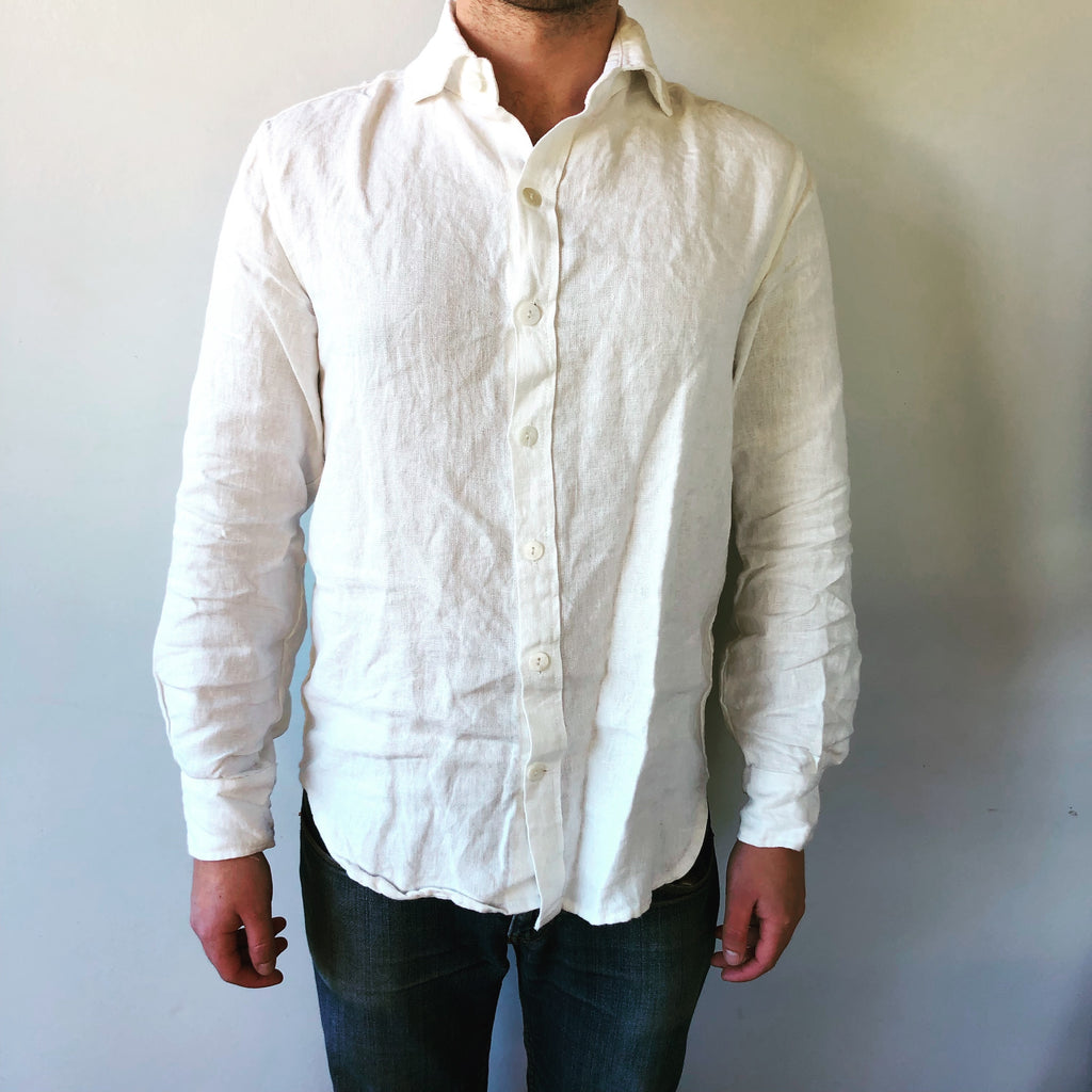 Unisex Rustic Linen Shirt - Antique White