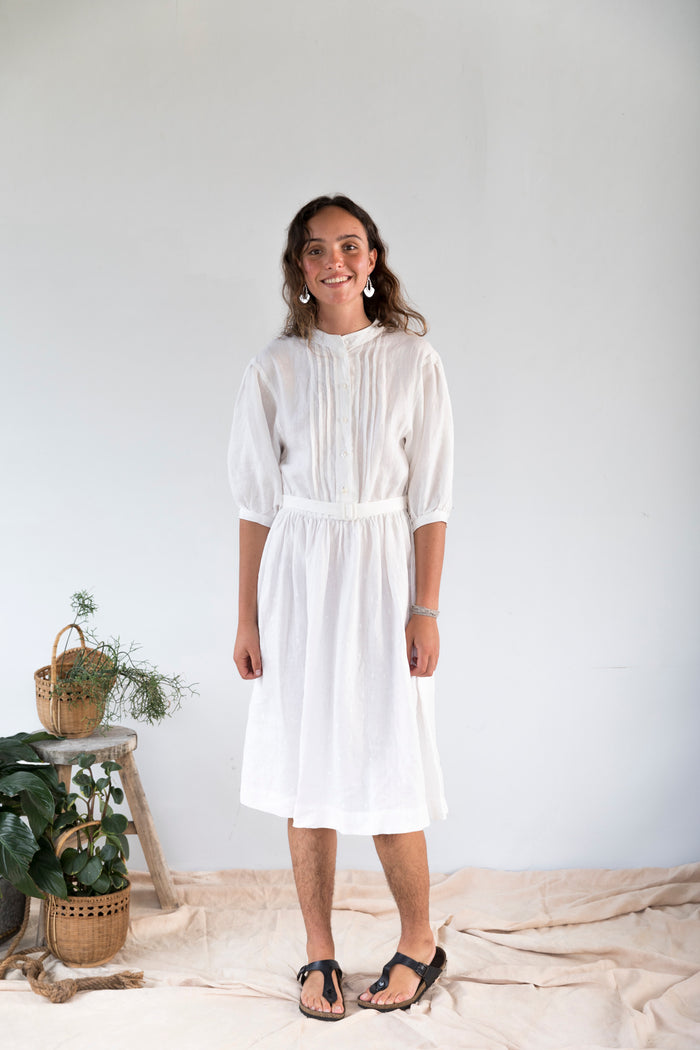 Luna Embroidered Linen Dress