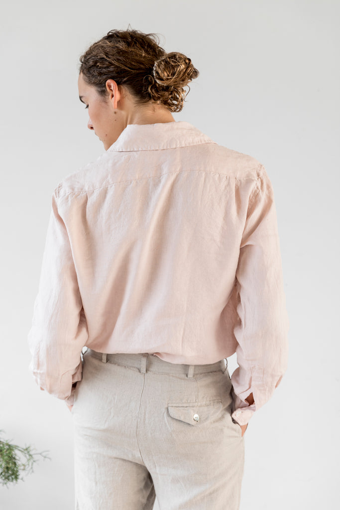 Unisex Collared Linen Shirt - Monet Pink
