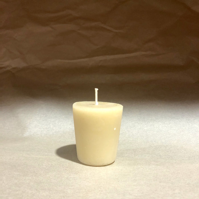 Queen B beeswax candle round glass votive Refill