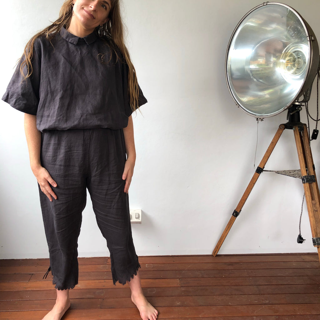 CLEARANCE: Linen Venus Pants - Charcoal