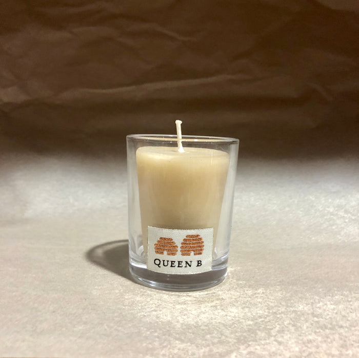 Queen B Beeswax candle in round glass votive