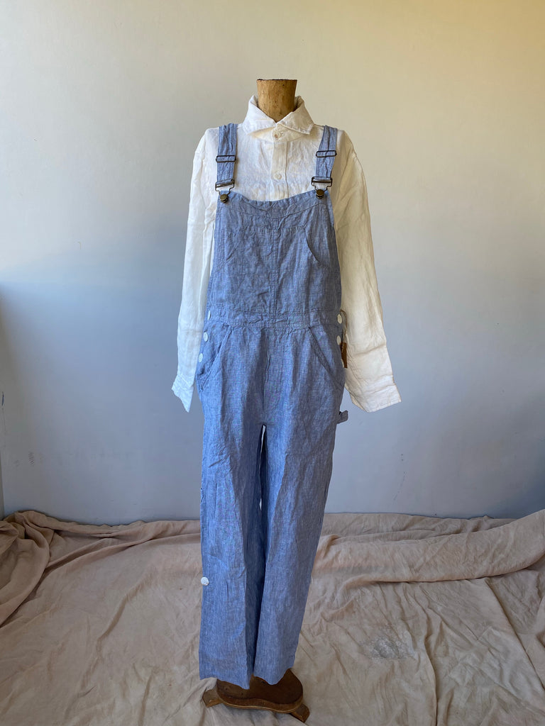 Linen Overalls - Light Blue Chambray