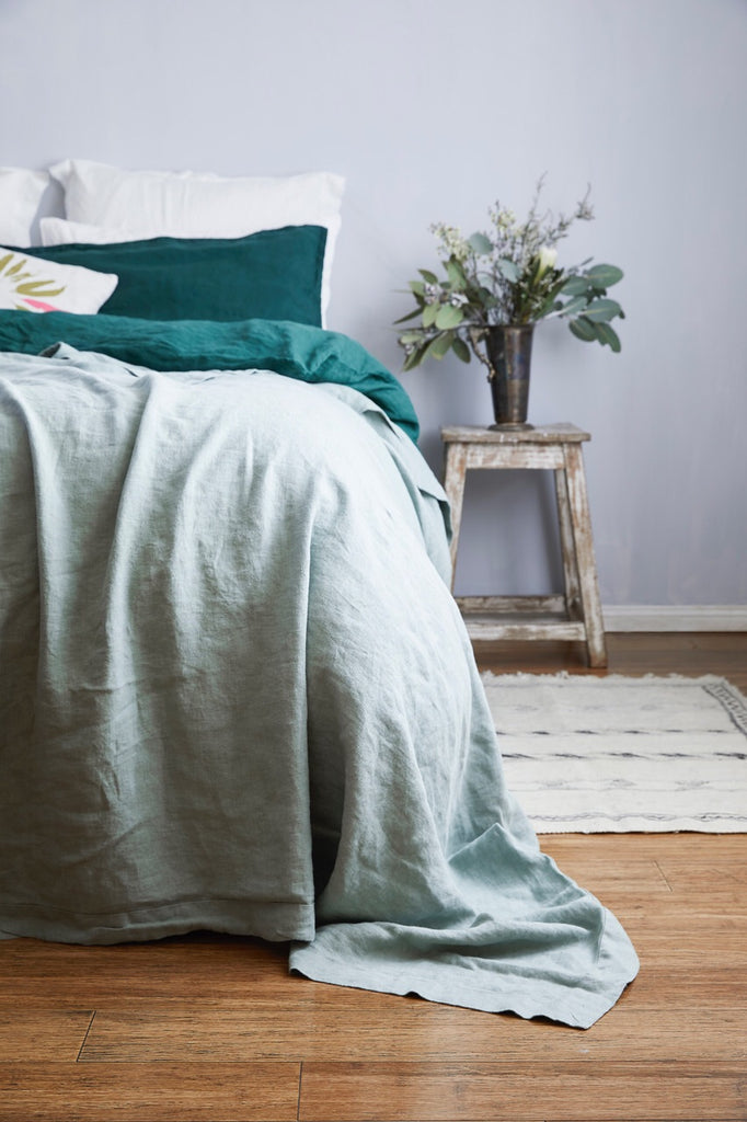 Rustic Irish Linen Blanket - Oxford Edge