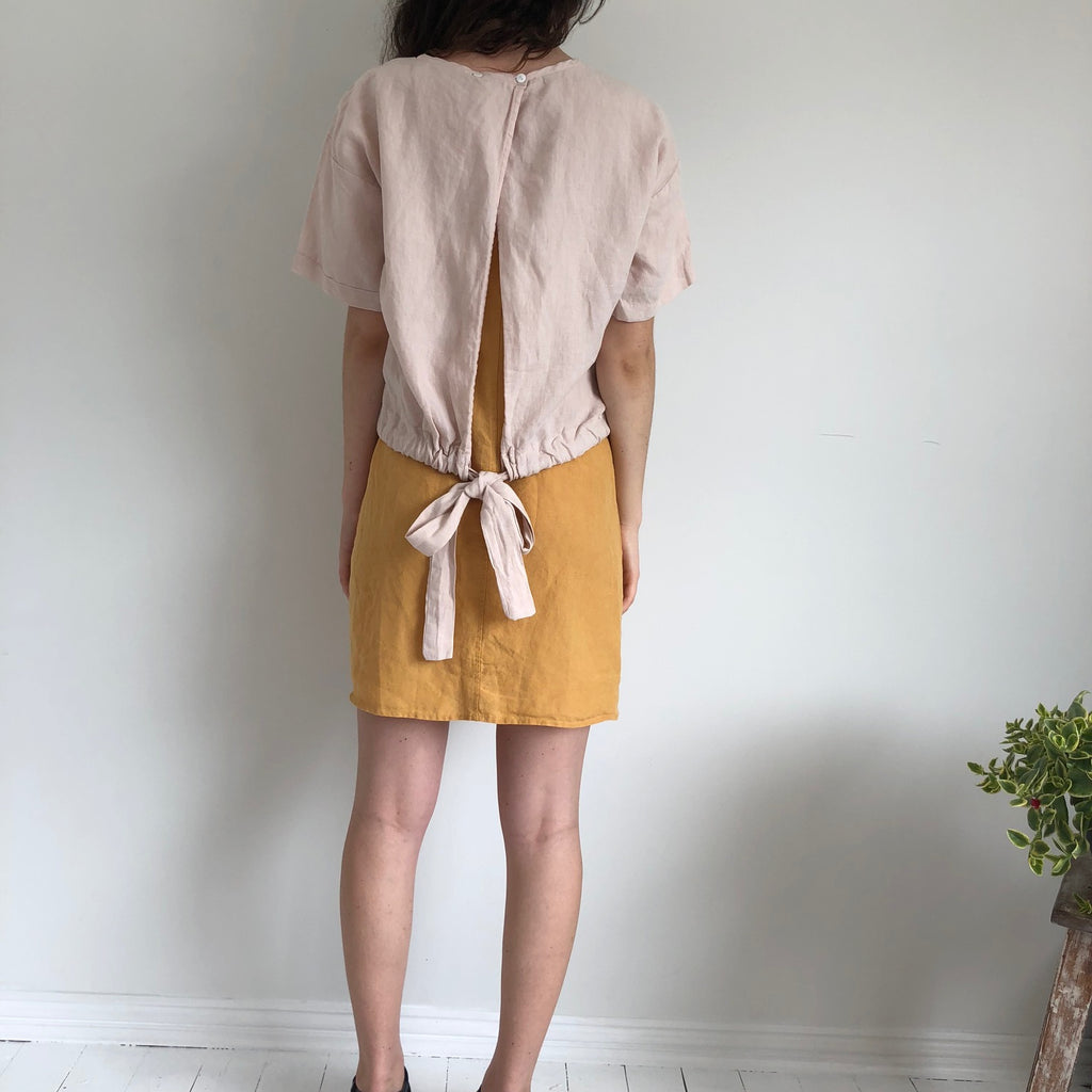 French Linen Sash Tie Top