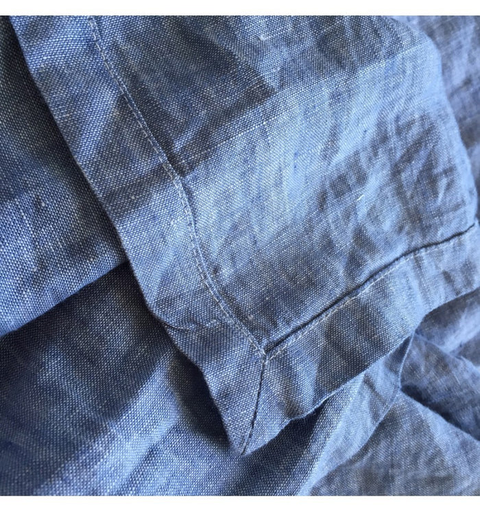 French Linen Yardage - Chambray Blue Weave - 165gsm/280cm wide