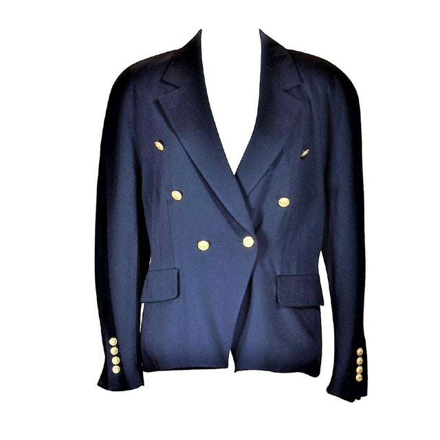 Vintage Escada Navy Double Breasted Coat