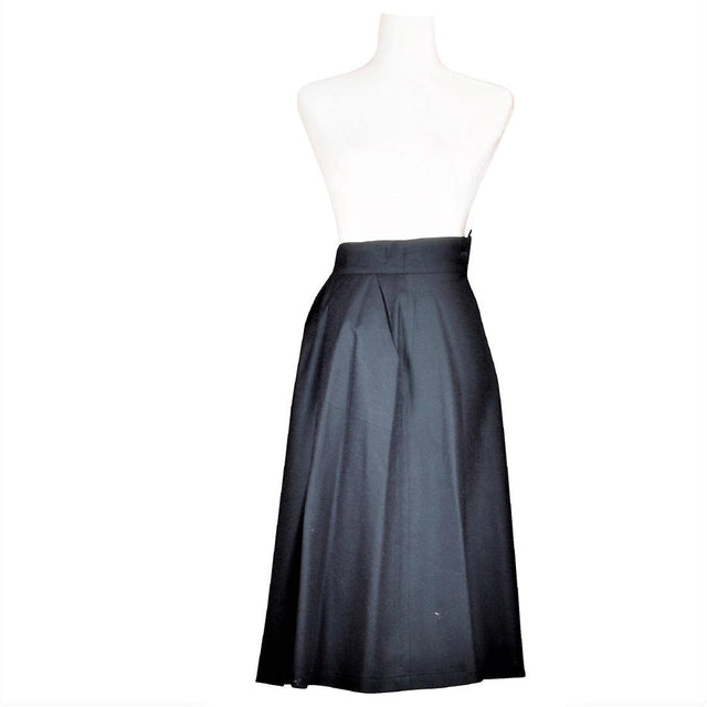 Italian Black Wool A-Line Skirt