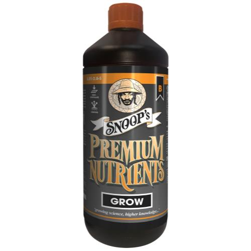 Snoop's Premium Nutrients Grow B Non-Circulating 1 Liter (Soil and Hydro Run To Waste) (12/Cs)