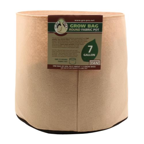 Gro Pro Premium 7 Gallon Round Fabric Pot-Tan (84/Cs)