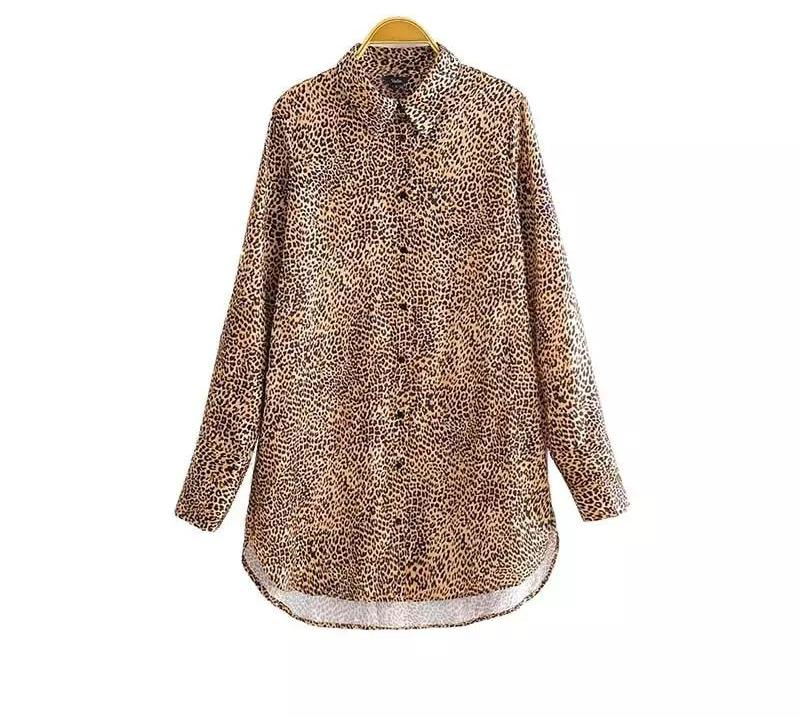 Basic Leopard Print Long Sleeve Blouse