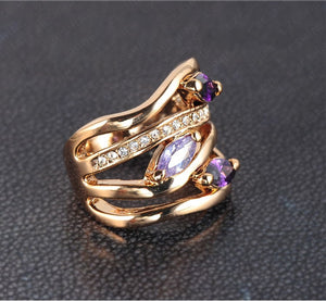 Unique Multi-layer Pave Austrian Crystals Ring