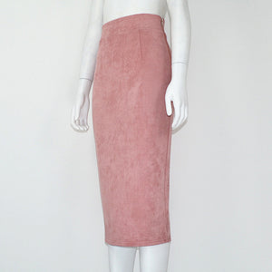 High Waist Solid Suede Midi Skirt Back Split
