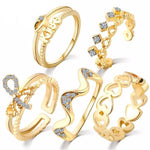 5 Pcs Heart Ring Set