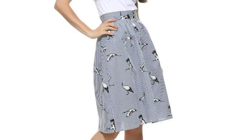 Sweet Bird Print Skirt