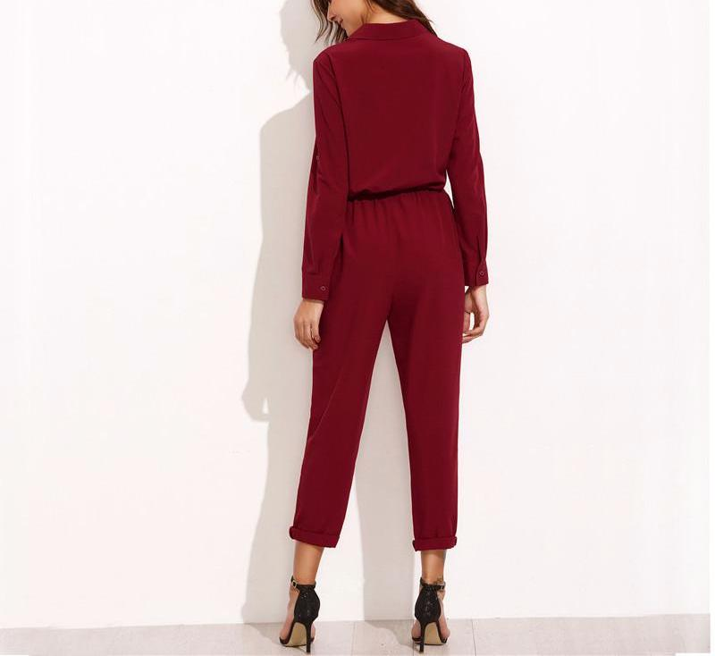 Burgundy Jumpsuit Tie Waist Dual Pockets Rolled  Up Sleeve