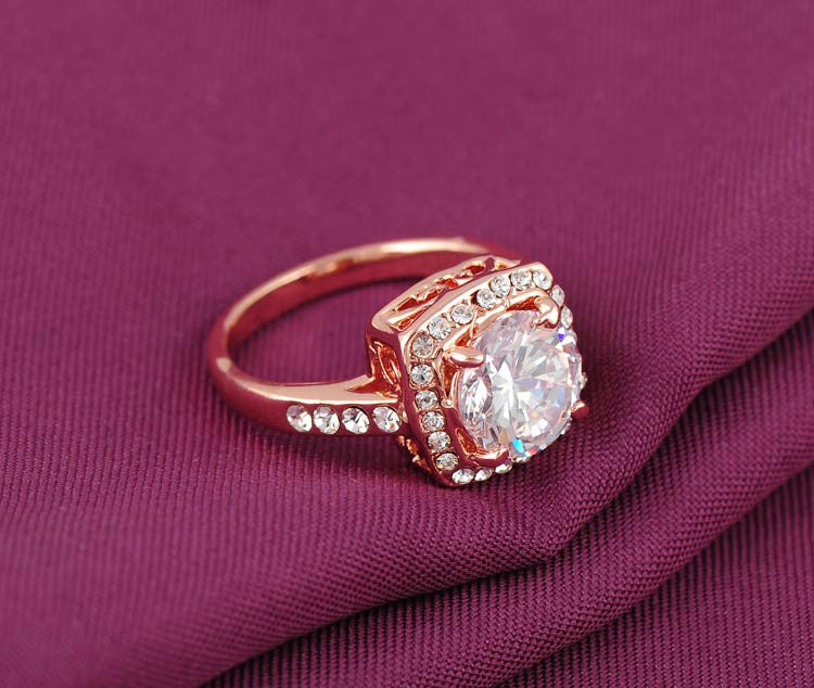 Cubic Zircon Rose Gold Ring