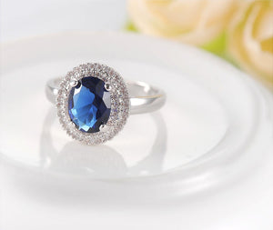 Blue Cubic Zircon Silver Ring