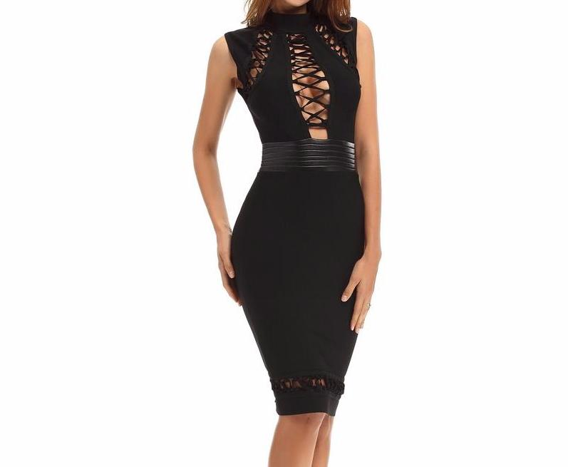 Lace-Up Black Bandage Dress