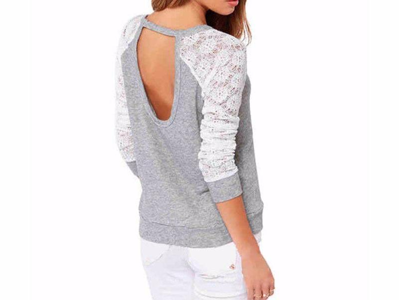 Long Sleeve Lace Patchwork Embroidery Blouse