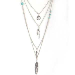 Multi Layers Long Feather Necklace