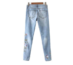 Floral Embroidery Denim Jeans
