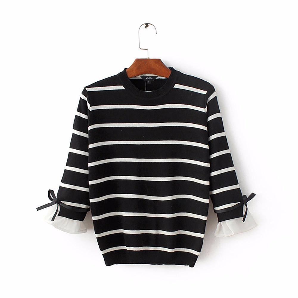 Black White Striped Knitted Sweater