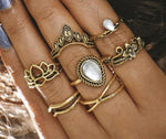 Hollow Lotus Ring Set