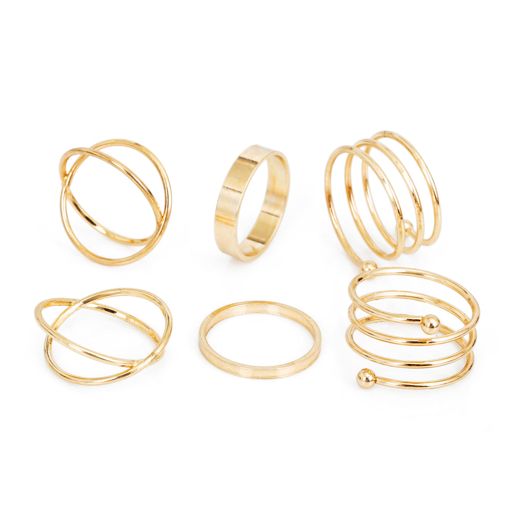 6 Piece Unique Set Of Gold Rings