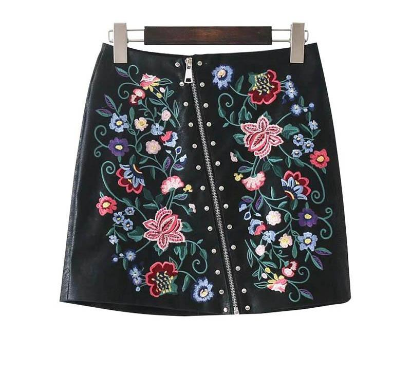 Floral Embroidery Leather Zipper Skirt