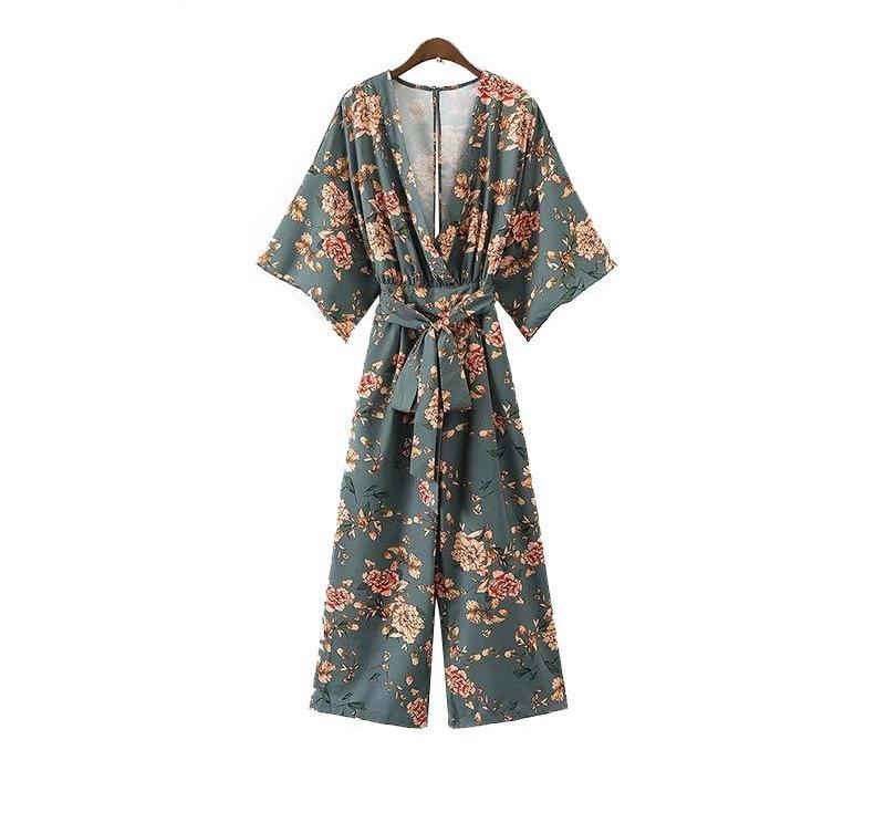 Floral V neck Jumpsuits