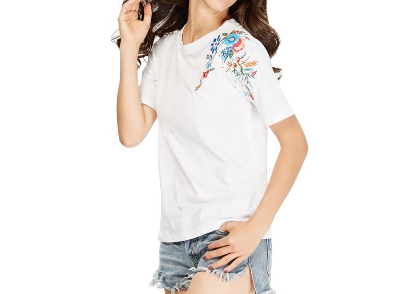 Flower Embroidery T Shirt