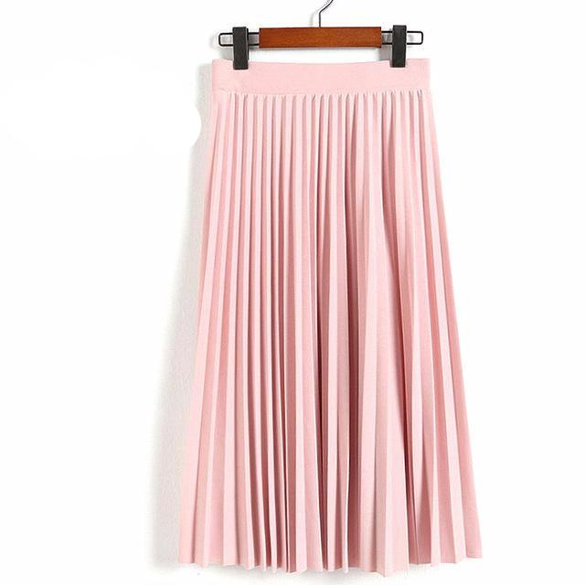 High Waist Pleated Length Elastic Skirt