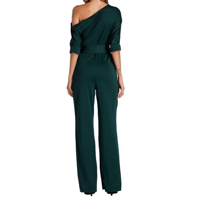 One Shoulder Tunic Jumpsuit