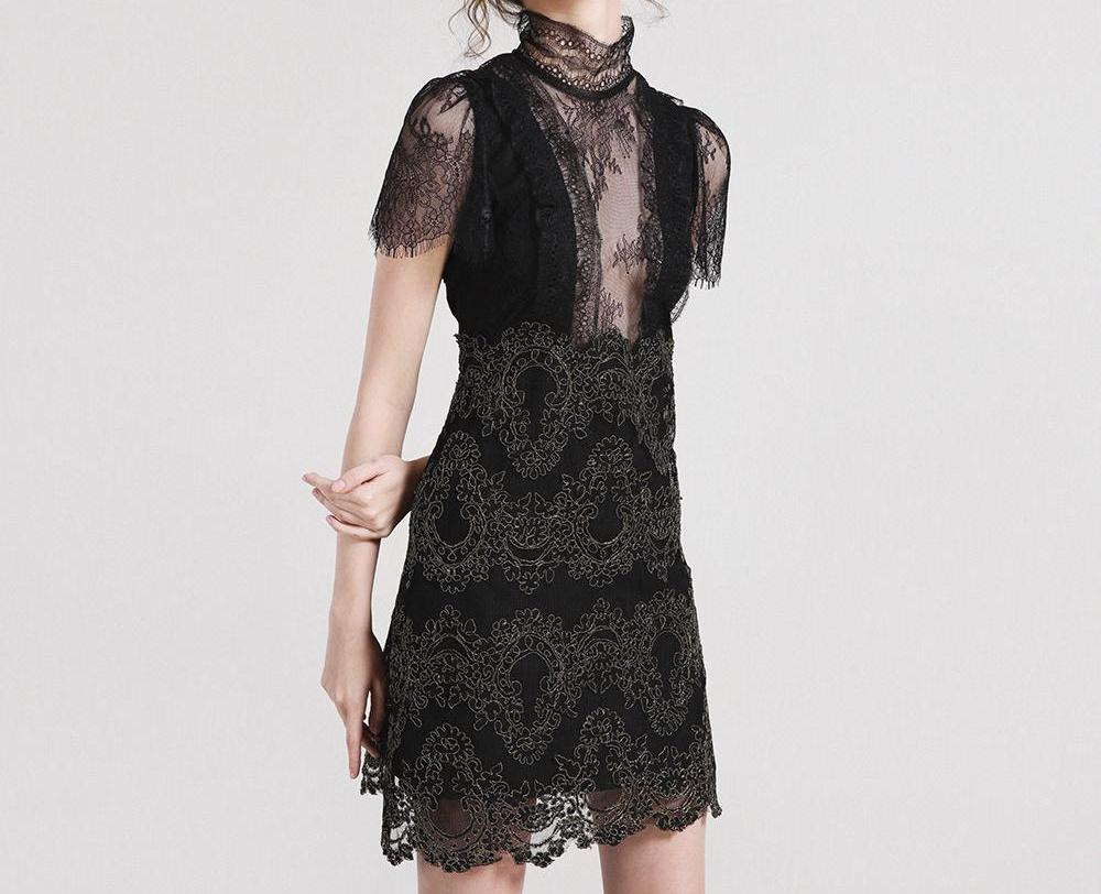 Transparent Short-Sleeve Lace Dress